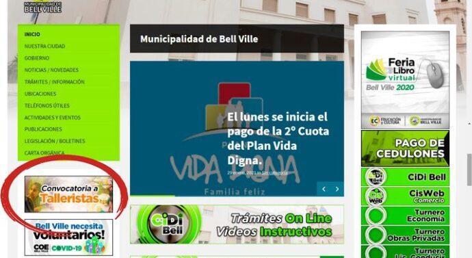 Bell Ville: Publican desde hoy en la web municipal la convocatoria a talleristas culturales.