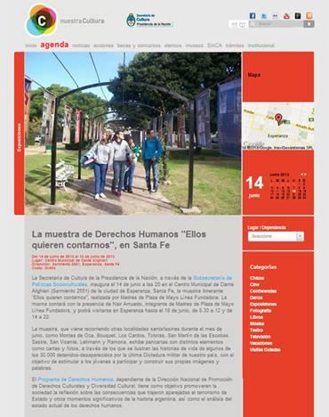 """Secretaria de Cultura de la Nación promociona en su web la Muestra """"Ellos quieren contarnos"""""""