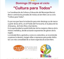"""Cultura para Todos en Capitán Bermúdez"""