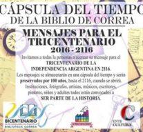 """La Biblioteca Popular de Correa crea una """"cápsula del tiempo"""" para el Tricentenario"""