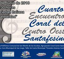 El 4º Encuentro Coral del Centro Oeste Santafesino se llevará a cabo en San Jorge