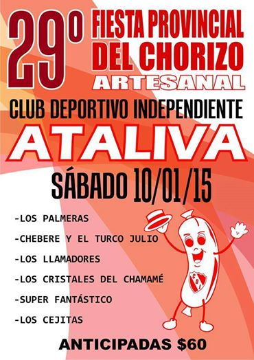 Ataliva: Ya llega la 29° Fiesta Provincial del Chorizo Artesanal