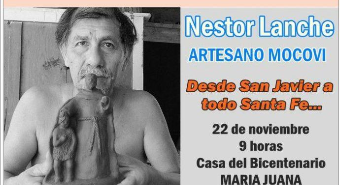 El artesano mocoví Néstor Lanche inicia su gira provincial en María Juana