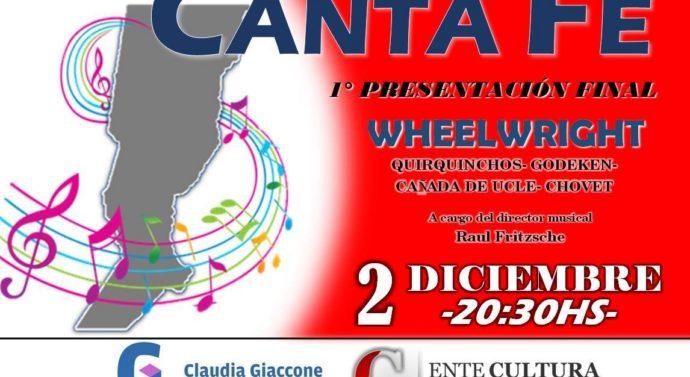 """""""CANTA FE"""" se presenta el próximo 2 diciembre en Wheelwright"""