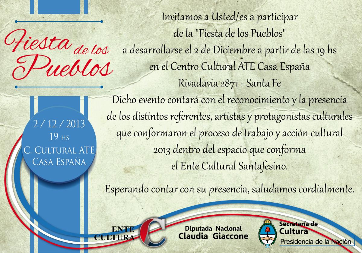 """El Ente Cultural Santafesino cierra su año con la """"Fiesta de los Pueblos"""" en Santa Fe"""