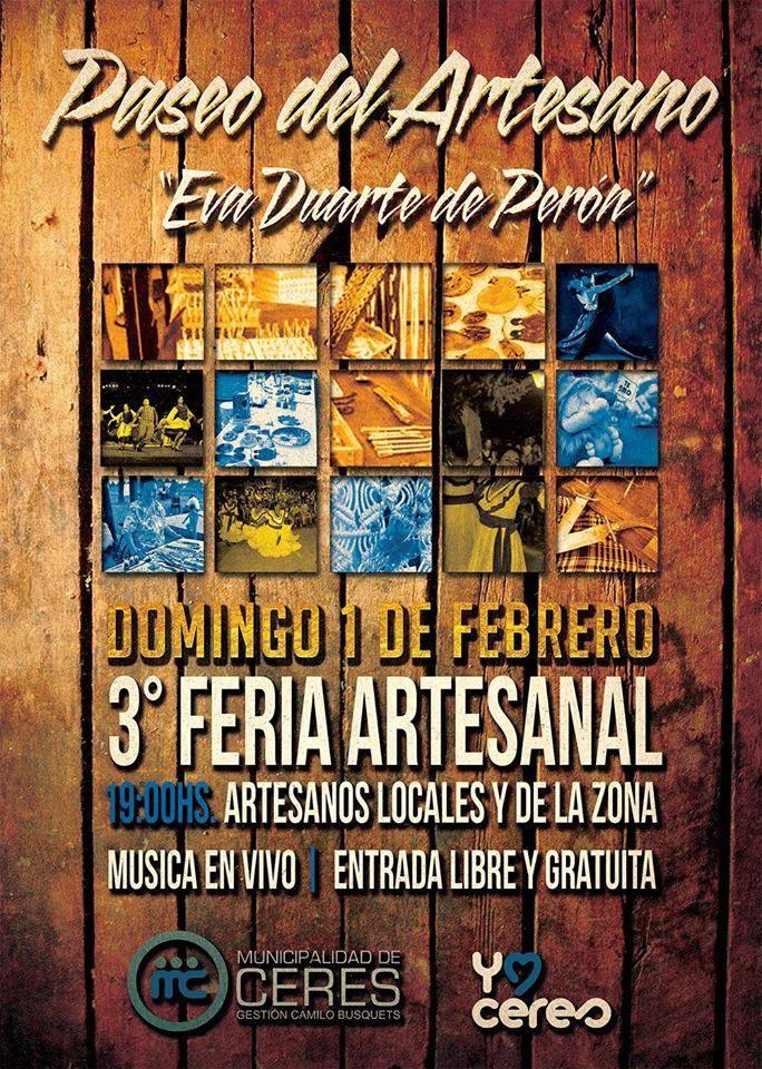 "Ceres: Este Domingo 1 de febrero ""3° Feria Artesanal"""