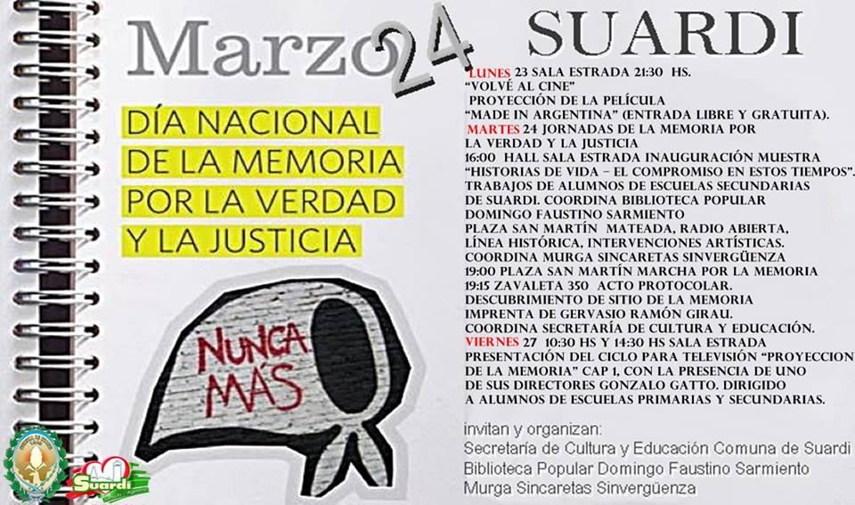 """Suardi: Acto por el """"Día de la Memoria por la Verdad y la Justicia"""""""