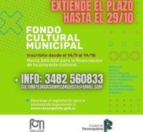 Reconquista: Se extiende el plazo para el Fondo Cultural Municipal